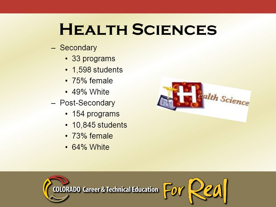 Health Sciences –Secondary 33 programs 1,598 students 75% female 49% White –Post-Secondary 154 programs 10,845 students 73% female 64% White