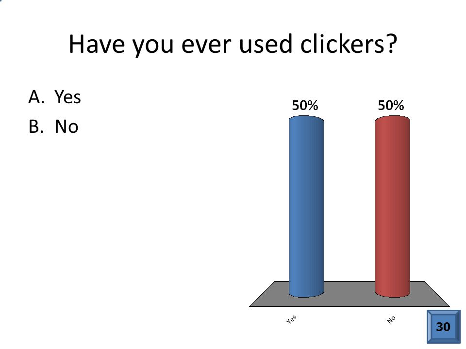 Have you ever used clickers A.Yes B.No 30