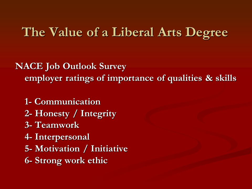 The Value of a Liberal Arts Degree NACE Job Outlook Survey employer ratings of importance of qualities & skills 1- Communication 2- Honesty / Integrit