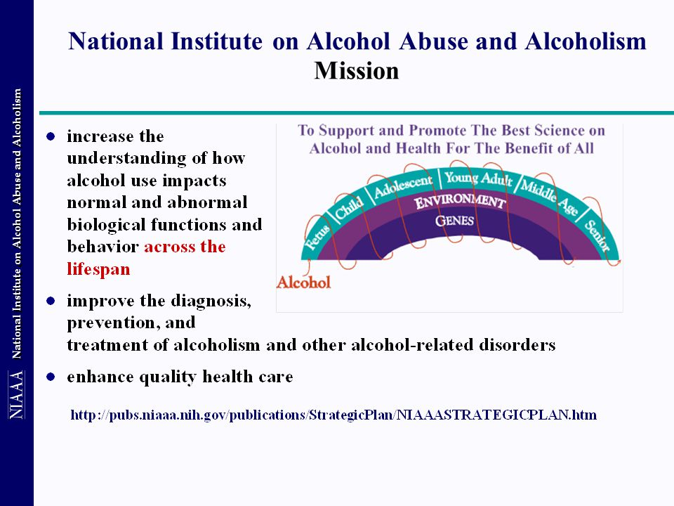 National Institute on Alcohol Abuse and Alcoholism Minority Health & Health Disparities Programs Goal to increase understanding of the risk and resilience factors that contribute to racial/ ethnic, rural (vrs.