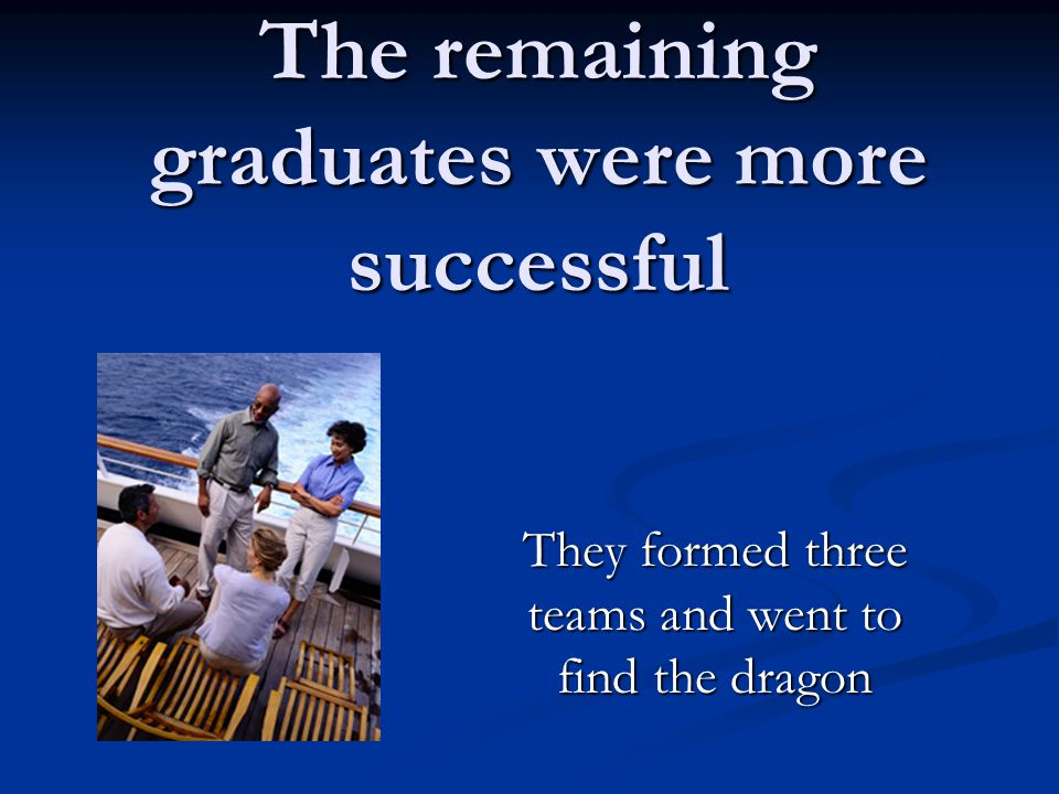 The remaining graduates were more successful They formed three teams and went to find the dragon