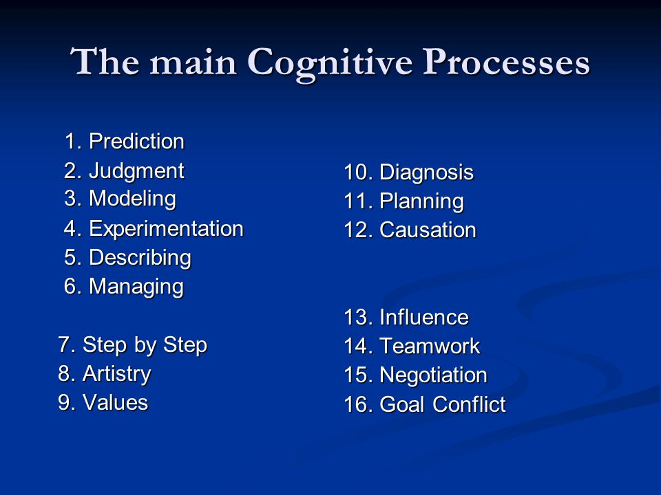 The main Cognitive Processes 1. Prediction 1. Prediction 2. Judgment 2. Judgment 3. Modeling 3. Modeling 4. Experimentation 4. Experimentation 5. Desc