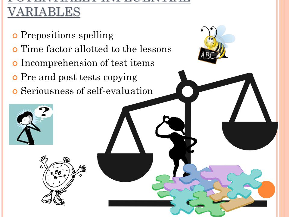 POTENTIALLY INFLUENTIAL VARIABLES Prepositions spelling Time factor allotted to the lessons Incomprehension of test items Pre and post tests copying S
