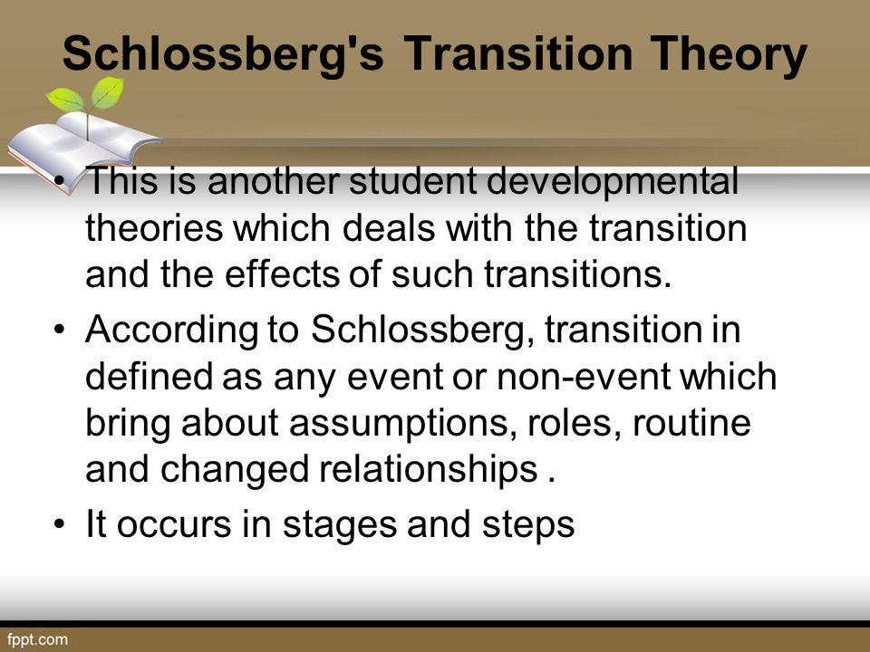 Schlossberg's Transition Theory This is another student developmental theories which deals with the transition and the effects of such transitions. Ac