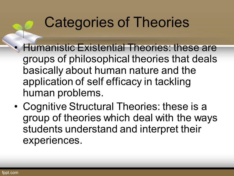 Categories of Theories Student Development Process Model: this is the fifth category of student development theories which are the principles upon which various student development theories revolve.