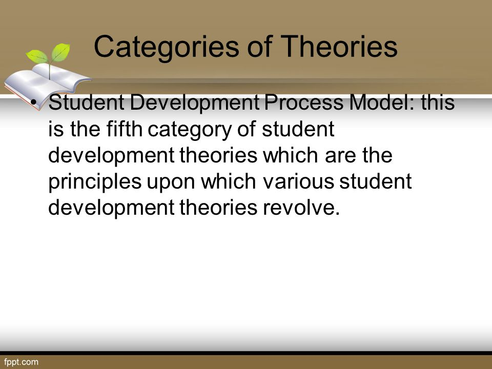 Categories of Theories Student Development Process Model: this is the fifth category of student development theories which are the principles upon whi