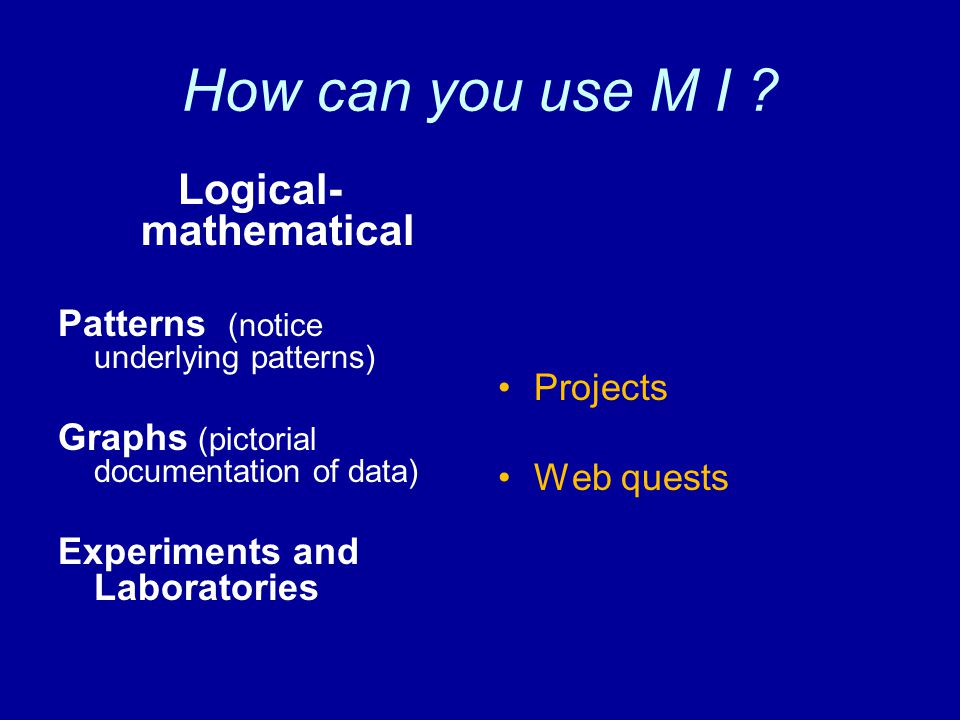 How can you use M I .