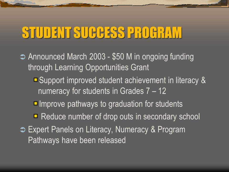 STUDENT SUCCESS PROGRAM  Announced March 2003 - $50 M in ongoing funding through Learning Opportunities Grant Support improved student achievement in literacy & numeracy for students in Grades 7 – 12 Improve pathways to graduation for students Reduce number of drop outs in secondary school  Expert Panels on Literacy, Numeracy & Program Pathways have been released