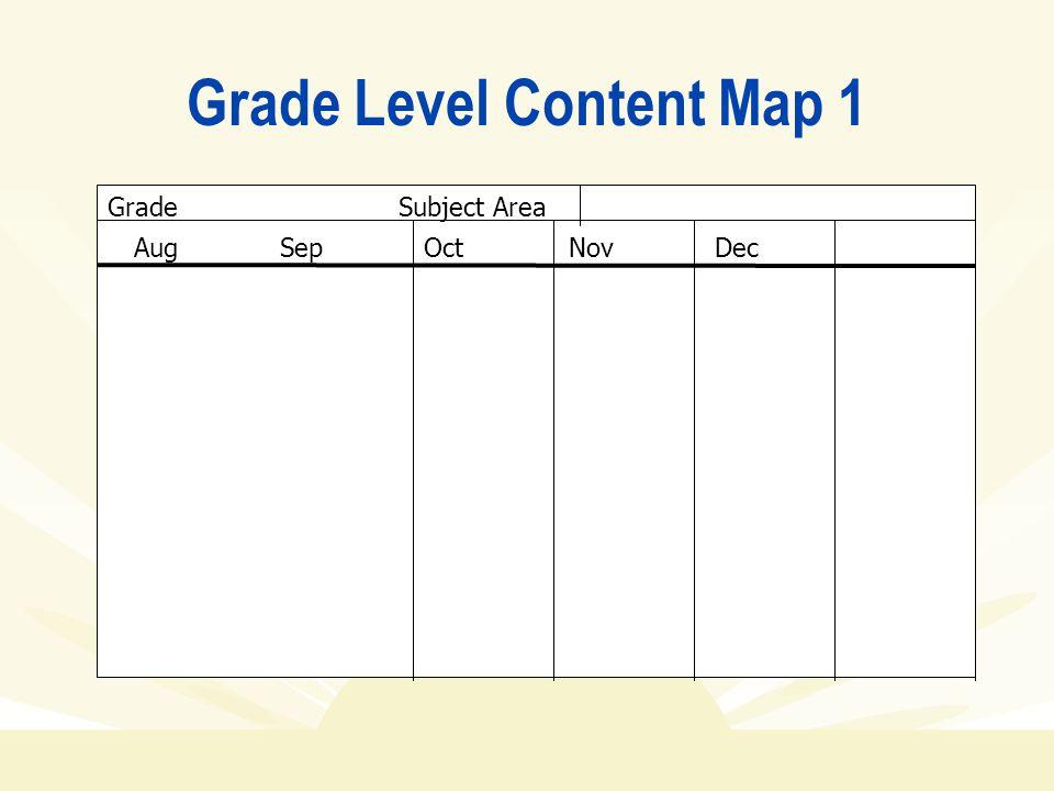Grade Level Content Map 1 Grade Subject Area AugSepOctNovDec