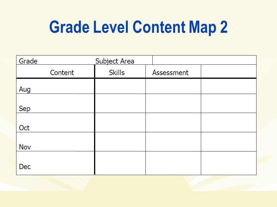 Grade Level Content Map 2 Grade Subject Area ContentSkillsAssessment Aug Sep Oct Nov Dec