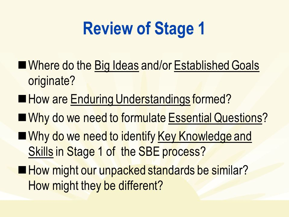 Review of Stage 1 Where do the Big Ideas and/or Established Goals originate? How are Enduring Understandings formed? Why do we need to formulate Essen