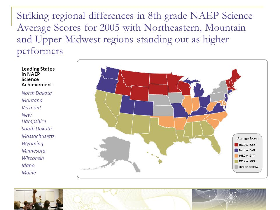 Striking regional differences in 8th grade NAEP Science Average Scores for 2005 with Northeastern, Mountain and Upper Midwest regions standing out as