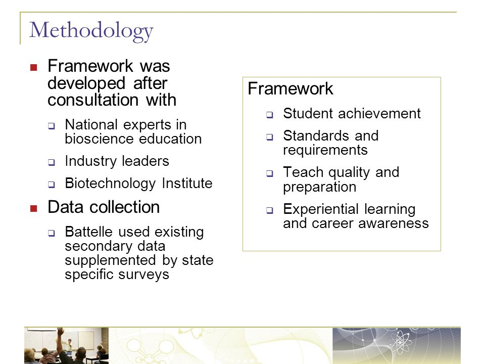 Methodology Framework was developed after consultation with  National experts in bioscience education  Industry leaders  Biotechnology Institute Data collection  Battelle used existing secondary data supplemented by state specific surveys Framework  Student achievement  Standards and requirements  Teach quality and preparation  Experiential learning and career awareness