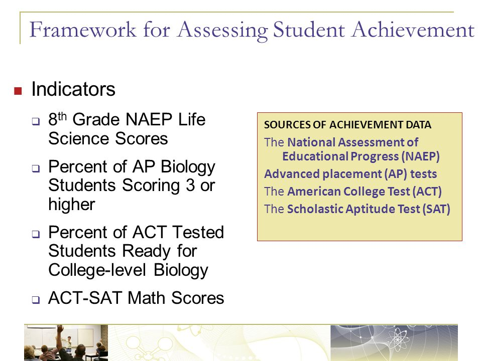 Framework for Assessing Student Achievement Indicators  8 th Grade NAEP Life Science Scores  Percent of AP Biology Students Scoring 3 or higher  Percent of ACT Tested Students Ready for College-level Biology  ACT-SAT Math Scores SOURCES OF ACHIEVEMENT DATA The National Assessment of Educational Progress (NAEP) Advanced placement (AP) tests The American College Test (ACT) The Scholastic Aptitude Test (SAT)