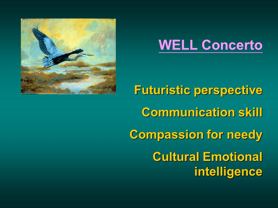 WELL Concerto Futuristic perspective Communication skill Compassion for needy Cultural Emotional intelligence