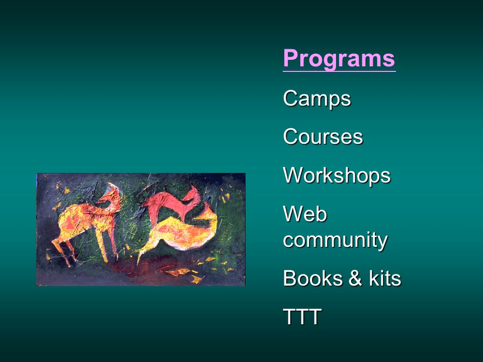 ProgramsCampsCoursesWorkshops Web community Books & kits TTT
