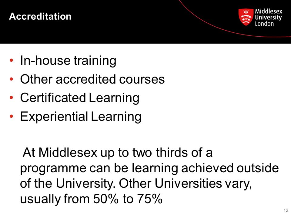 Accreditation In-house training Other accredited courses Certificated Learning Experiential Learning At Middlesex up to two thirds of a programme can be learning achieved outside of the University.