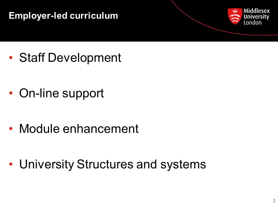 Employer-led curriculum Staff Development On-line support Module enhancement University Structures and systems 2