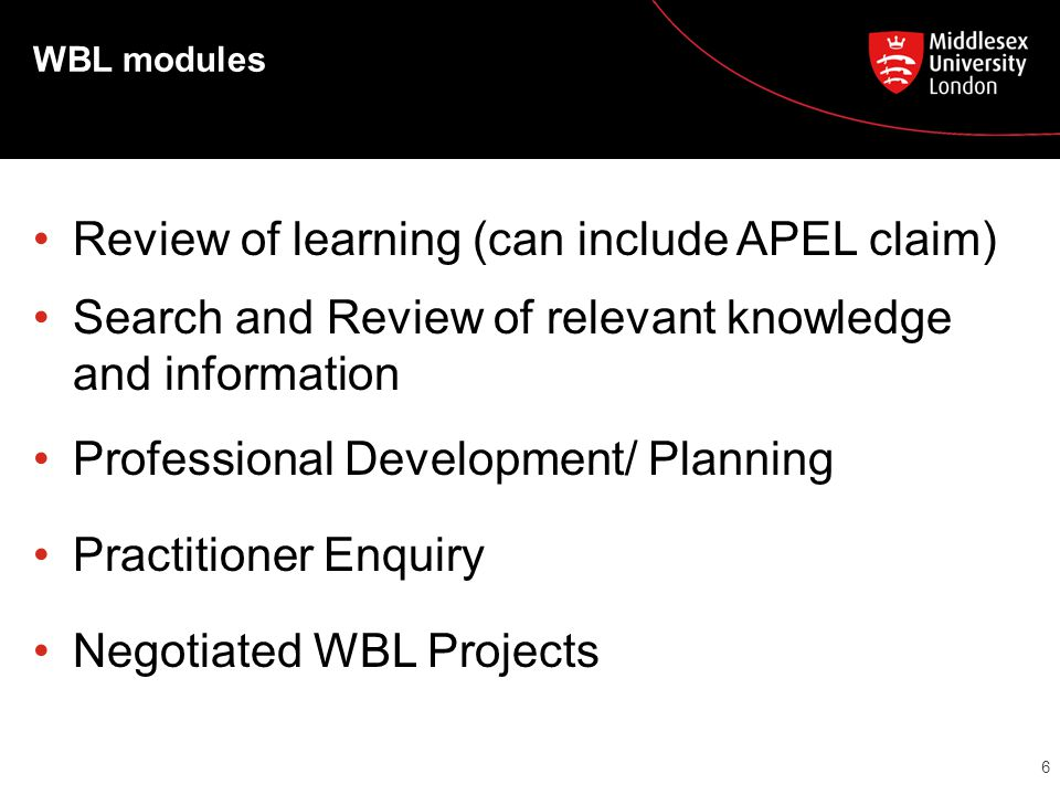 WBL modules Review of learning (can include APEL claim) Search and Review of relevant knowledge and information Professional Development/ Planning Practitioner Enquiry Negotiated WBL Projects 6