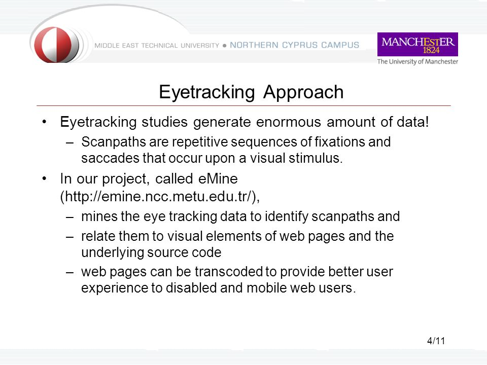 4/11 Eyetracking Approach Eyetracking studies generate enormous amount of data.