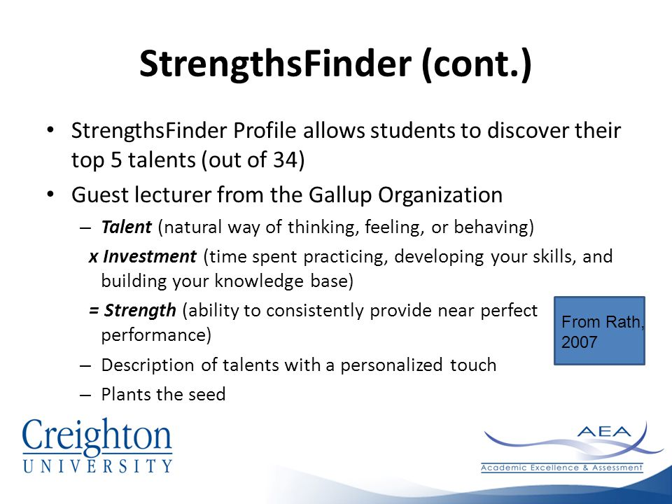 StrengthsFinder (cont.) StrengthsFinder Profile allows students to discover their top 5 talents (out of 34) Guest lecturer from the Gallup Organization – Talent (natural way of thinking, feeling, or behaving) x Investment (time spent practicing, developing your skills, and building your knowledge base) = Strength (ability to consistently provide near perfect performance) – Description of talents with a personalized touch – Plants the seed From Rath, 2007