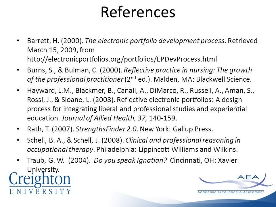 References Barrett, H. (2000). The electronic portfolio development process.