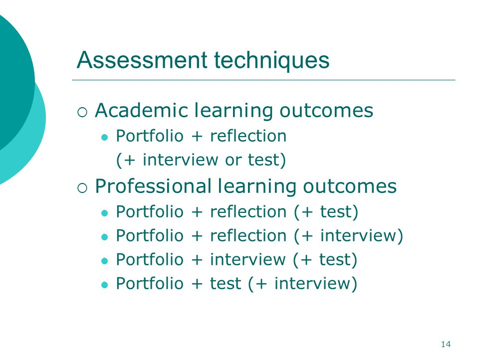 14 Assessment techniques  Academic learning outcomes Portfolio + reflection (+ interview or test)  Professional learning outcomes Portfolio + reflection (+ test) Portfolio + reflection (+ interview) Portfolio + interview (+ test) Portfolio + test (+ interview)