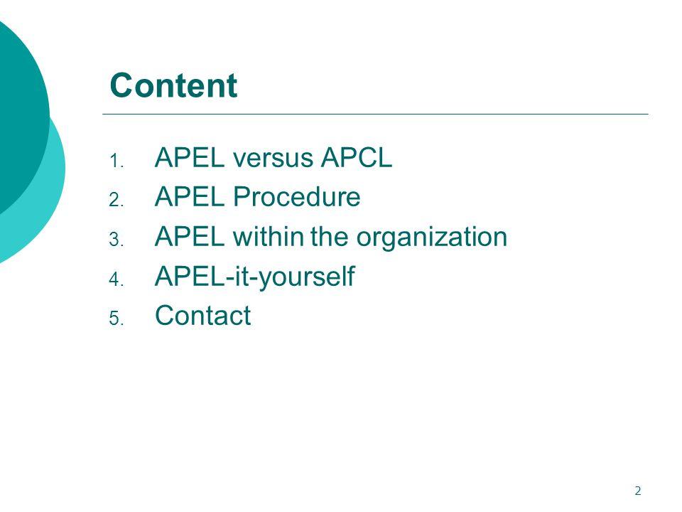 2 Content 1. APEL versus APCL 2. APEL Procedure 3. APEL within the organization 4. APEL-it-yourself 5. Contact