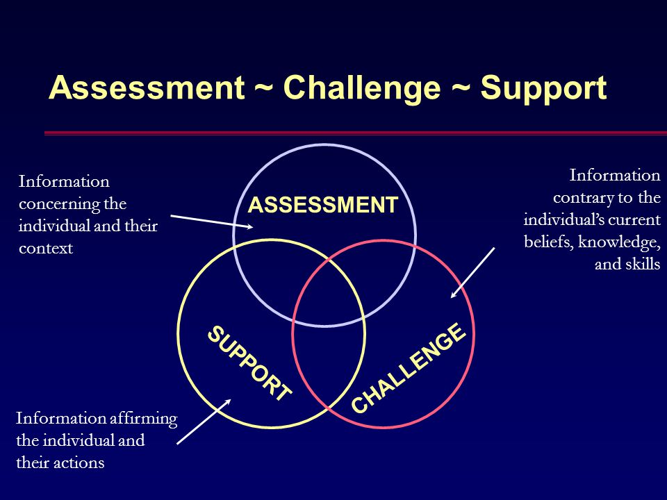 Assessment ~ Challenge ~ Support ASSESSMENT SUPPORT CHALLENGE Information concerning the individual and their context Information affirming the indivi