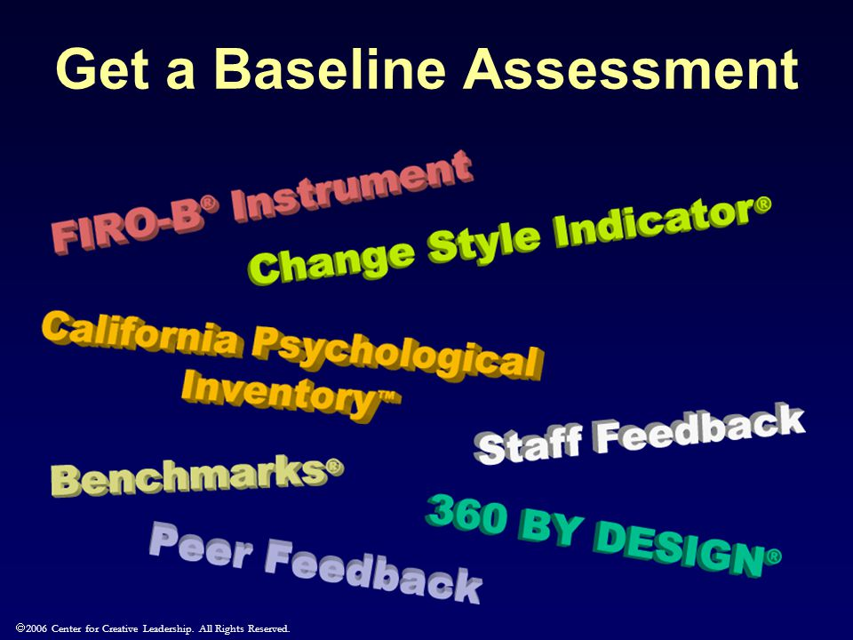  2006 Center for Creative Leadership. All Rights Reserved. Get a Baseline Assessment
