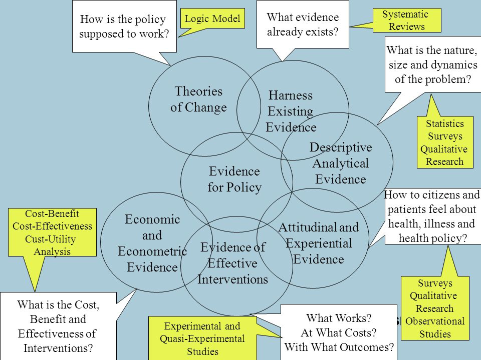 www.gsr.gov.uk Evidence for Policy Theories of Change Descriptive Analytical Evidence How is the policy supposed to work.