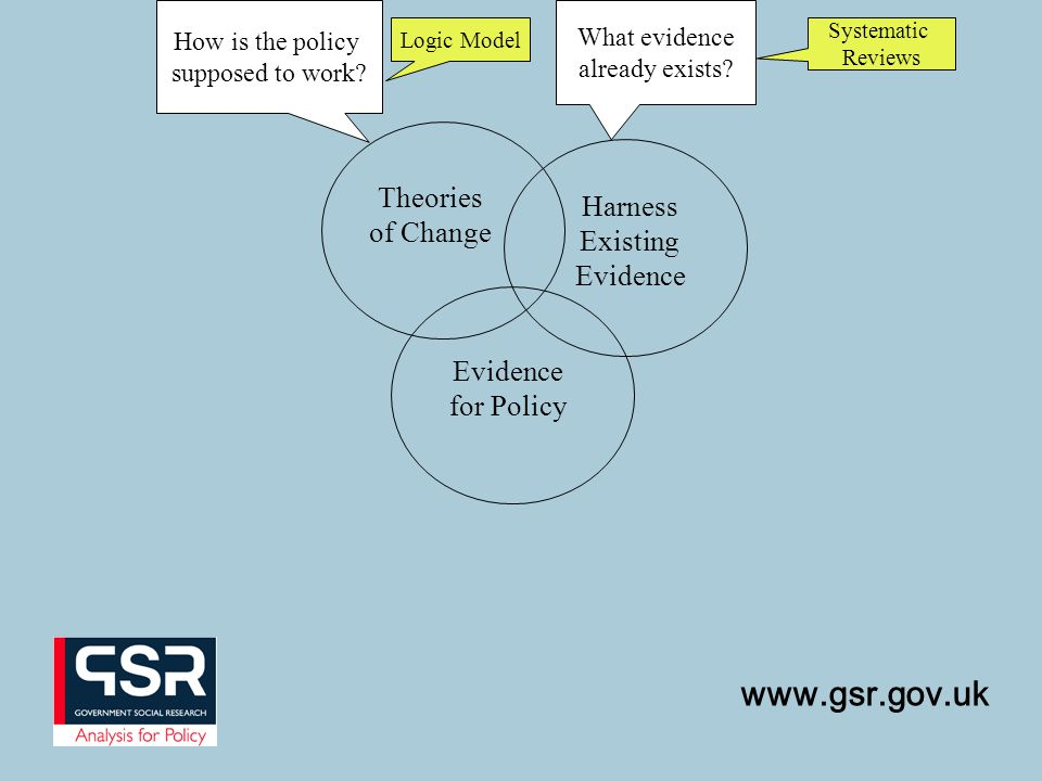 www.gsr.gov.uk Evidence for Policy Theories of Change How is the policy supposed to work.