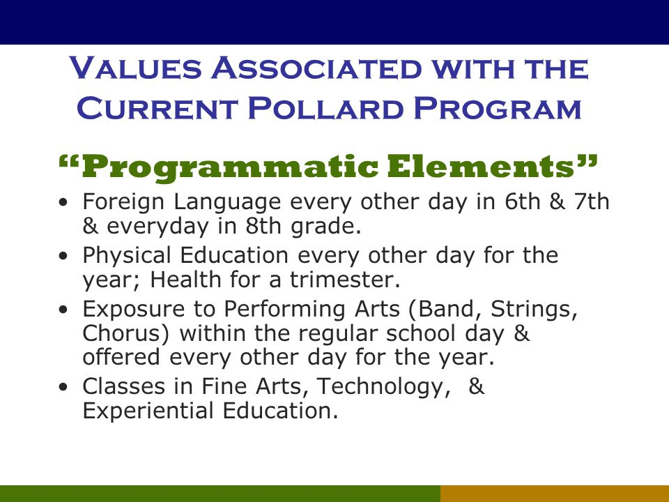 "Values Associated with the Current Pollard Program ""Programmatic Elements"" Foreign Language every other day in 6th & 7th & everyday in 8th grade. Phys"