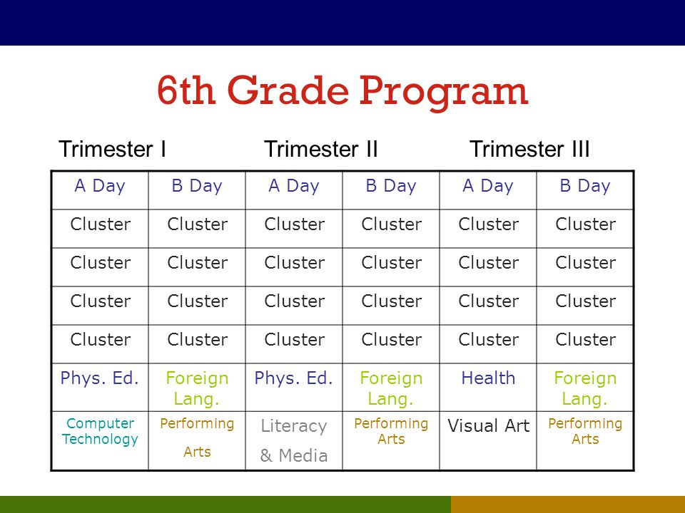 6th Grade Program A DayB DayA DayB DayA DayB Day Cluster Phys. Ed.Foreign Lang. Phys. Ed.Foreign Lang. HealthForeign Lang. Computer Technology Perform