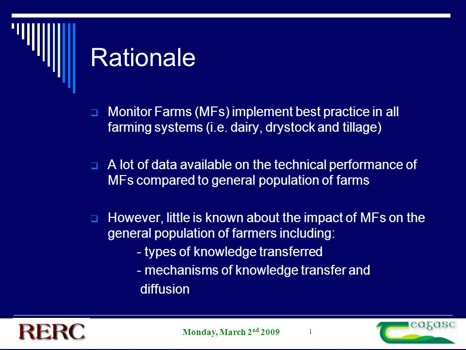 AESI Annual Student Competition 2008 Rationale  Monitor Farms (MFs) implement best practice in all farming systems (i.e.