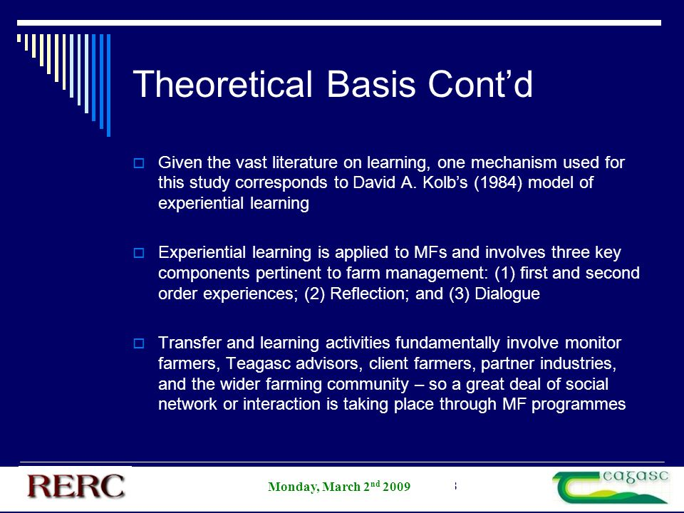 AESI Annual Student Competition 2008 Theoretical Basis Cont'd  Given the vast literature on learning, one mechanism used for this study corresponds t