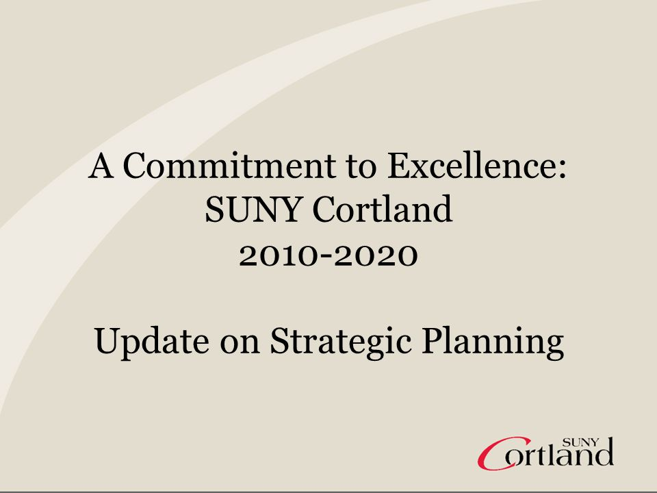 Goals of Strategic Planning Initiative Revise the campus mission statement Create a vision statement Clarify organizational values Identify strategic areas of focus that will guide the work of all areas of campus Ground all work in the multiple perspectives of campus community Maintain institutional focus