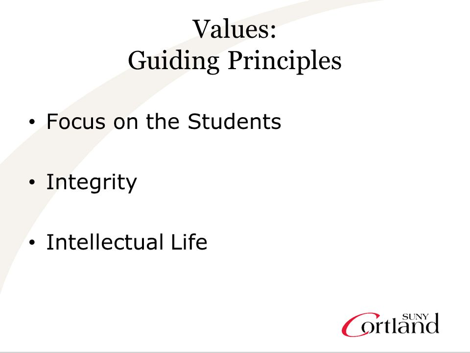 Values: Guiding Principles Focus on the Students Integrity Intellectual Life