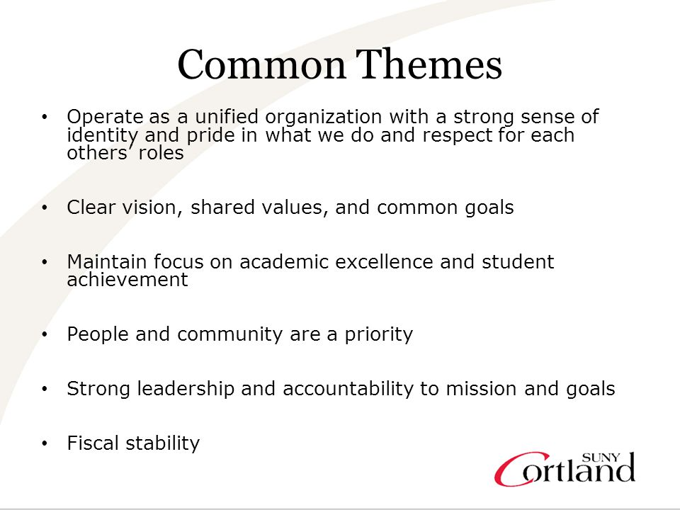 Common Themes Operate as a unified organization with a strong sense of identity and pride in what we do and respect for each others' roles Clear vision, shared values, and common goals Maintain focus on academic excellence and student achievement People and community are a priority Strong leadership and accountability to mission and goals Fiscal stability