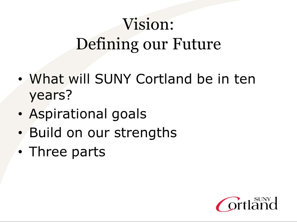 Vision: Defining our Future What will SUNY Cortland be in ten years.