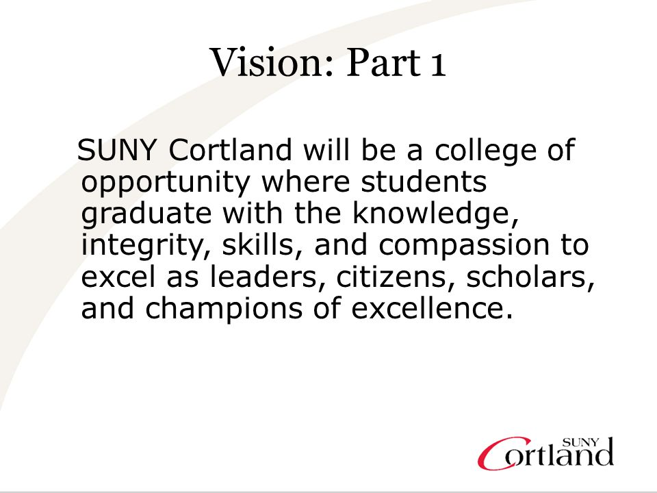 Vision: Part 2 The college will be a top choice for prospective students and employees who are drawn to the nationally recognized academic programs, infusion of innovation and experiential education, and the rich intellectual, social, and athletic life of the college.