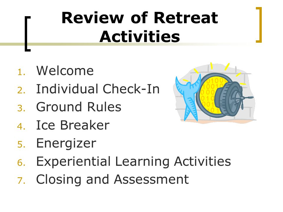 Review of Retreat Activities 1. Welcome 2. Individual Check-In 3.