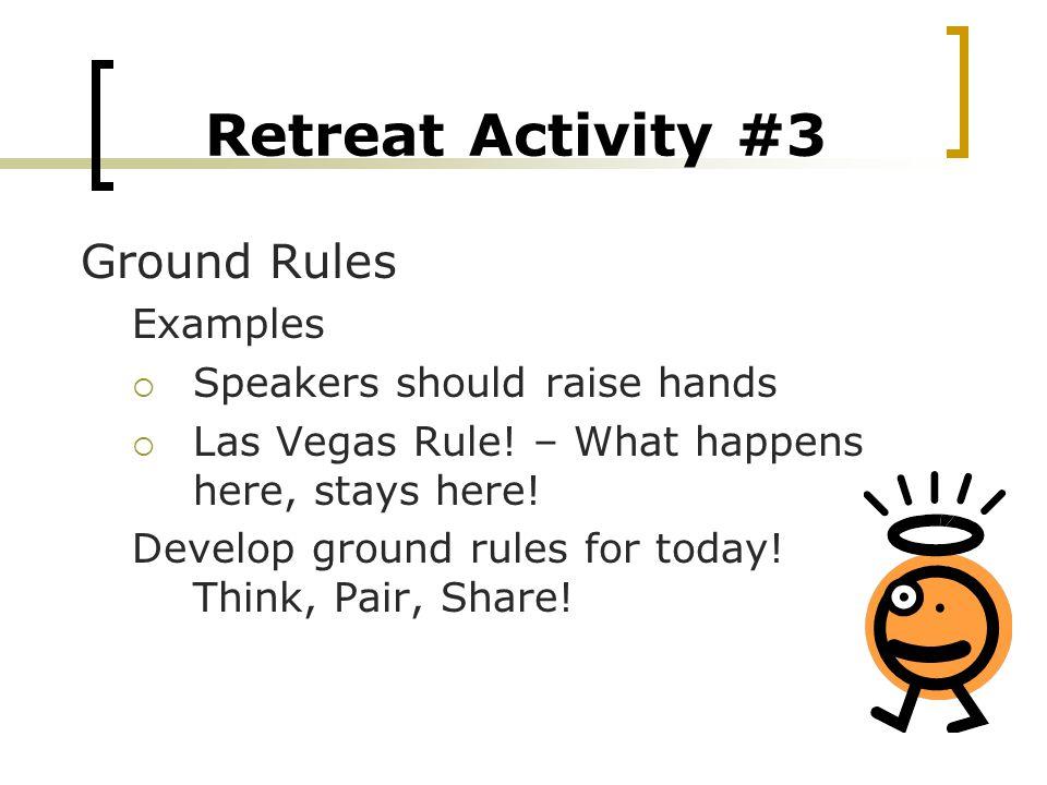 Retreat Activity #3 Ground Rules Examples  Speakers should raise hands  Las Vegas Rule.