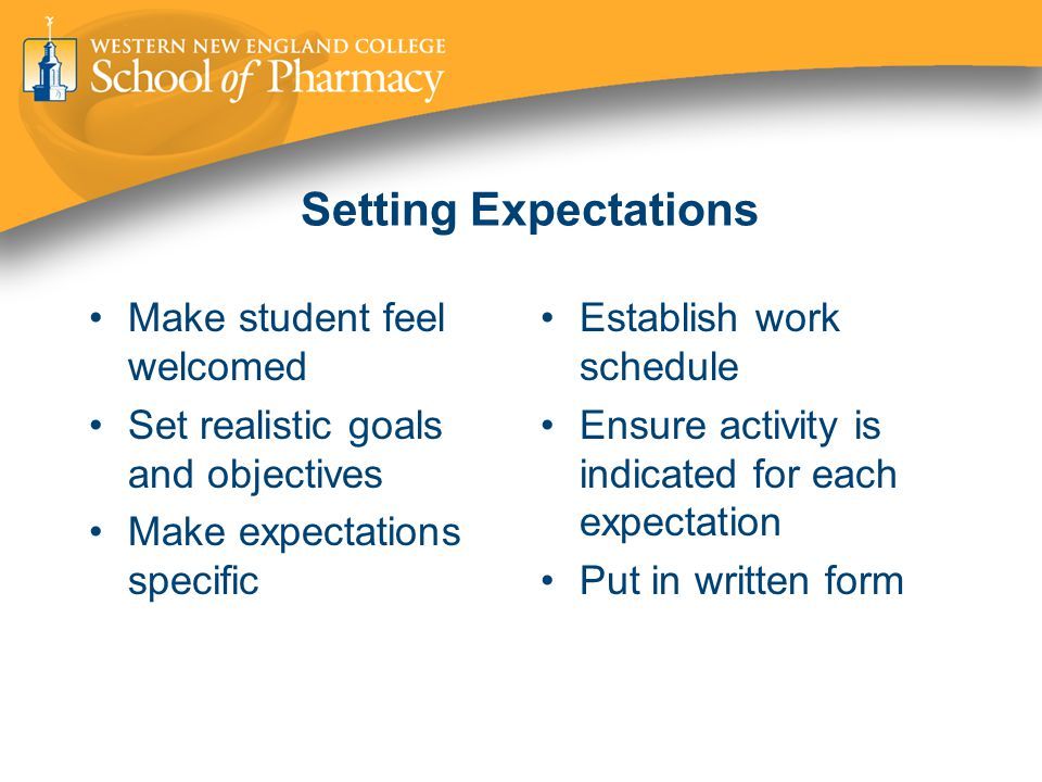 Setting Expectations Make student feel welcomed Set realistic goals and objectives Make expectations specific Establish work schedule Ensure activity is indicated for each expectation Put in written form