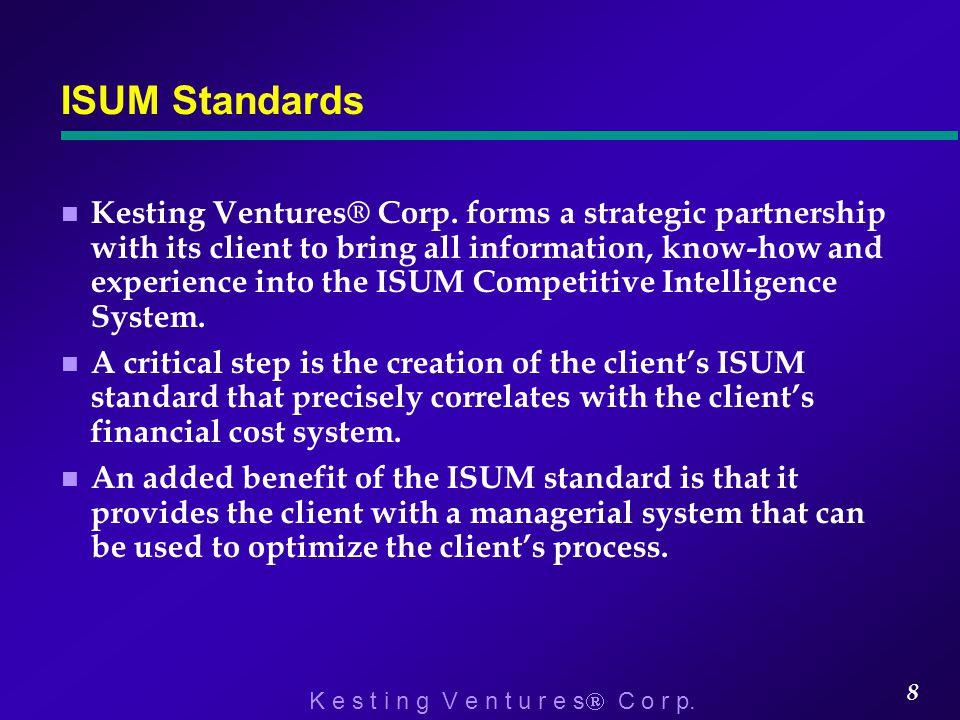 K e s t i n g V e n t u r e s  C o r p.8 ISUM Standards n Kesting Ventures® Corp.