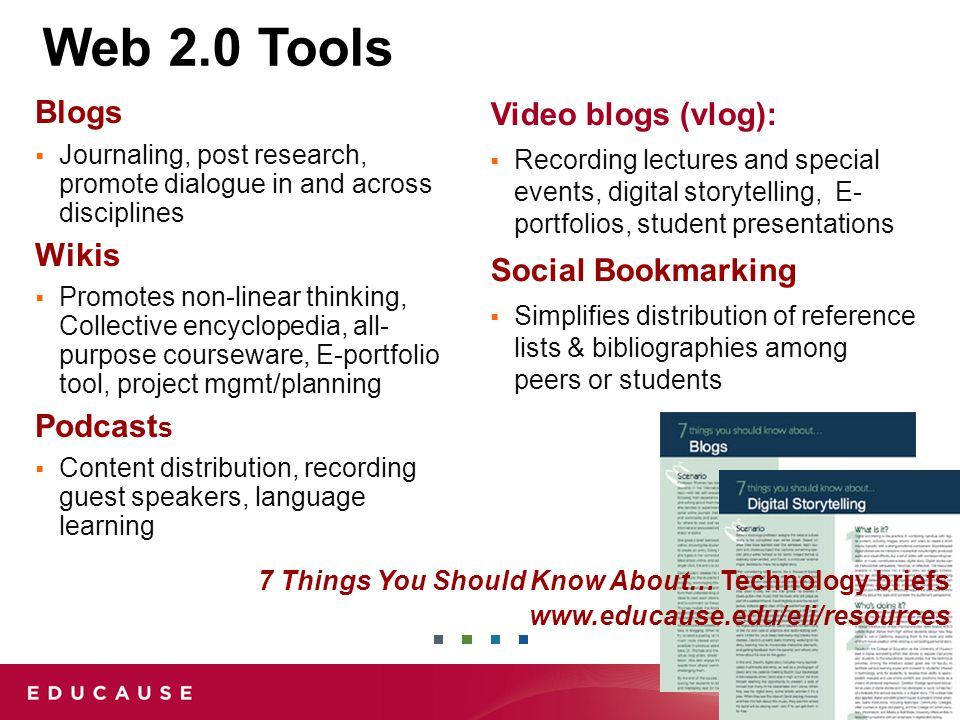 Web 2.0 Tools Blogs  Journaling, post research, promote dialogue in and across disciplines Wikis  Promotes non-linear thinking, Collective encyclopedia, all- purpose courseware, E-portfolio tool, project mgmt/planning Podcast s  Content distribution, recording guest speakers, language learning Video blogs (vlog):  Recording lectures and special events, digital storytelling, E- portfolios, student presentations Social Bookmarking  Simplifies distribution of reference lists & bibliographies among peers or students 7 Things You Should Know About… Technology briefs www.educause.edu/eli/resources