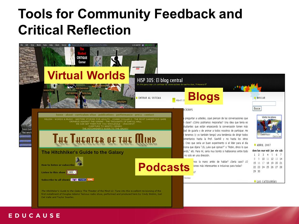 Tools for Community Feedback and Critical Reflection Blogs Virtual Worlds Podcasts