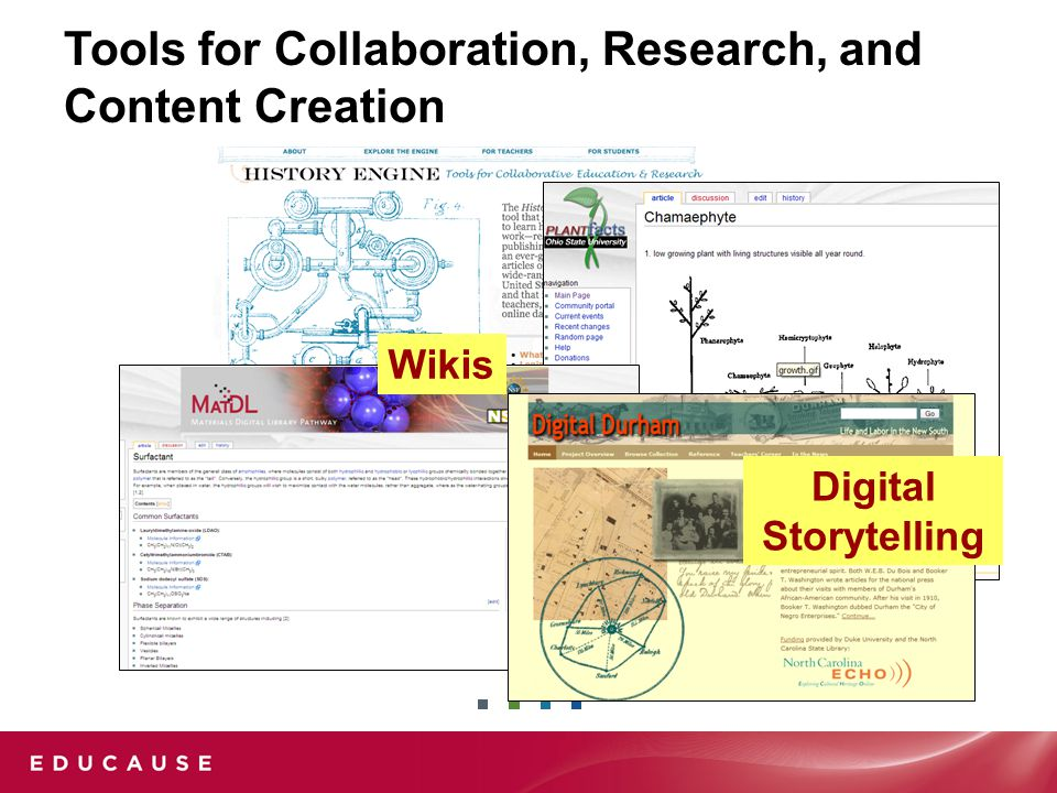 Tools for Collaboration, Research, and Content Creation Digital Storytelling Wikis