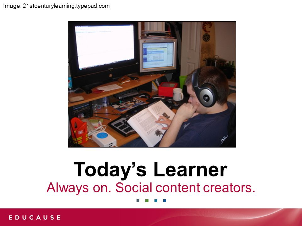 Today's Learner Always on. Social content creators. Image: 21stcenturylearning.typepad.com