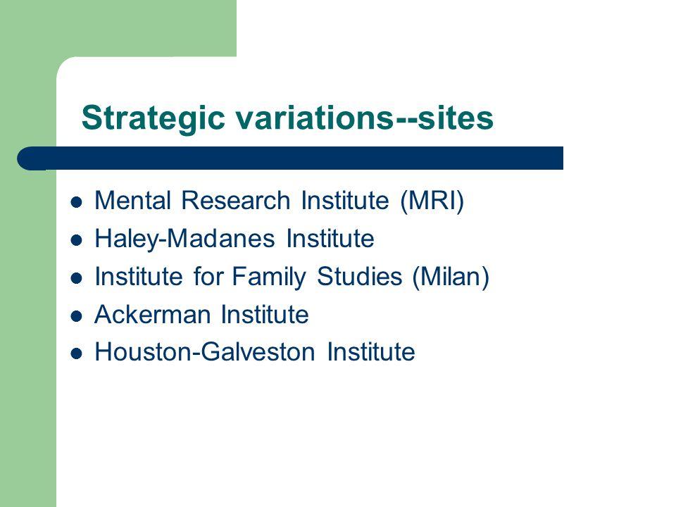 Strategic variations--sites Mental Research Institute (MRI) Haley-Madanes Institute Institute for Family Studies (Milan) Ackerman Institute Houston-Galveston Institute